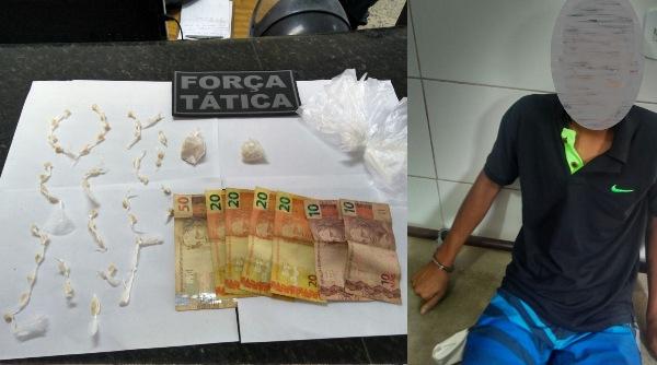 Denúncia: FT detém jovem que traficava em frente à escola em Linhares