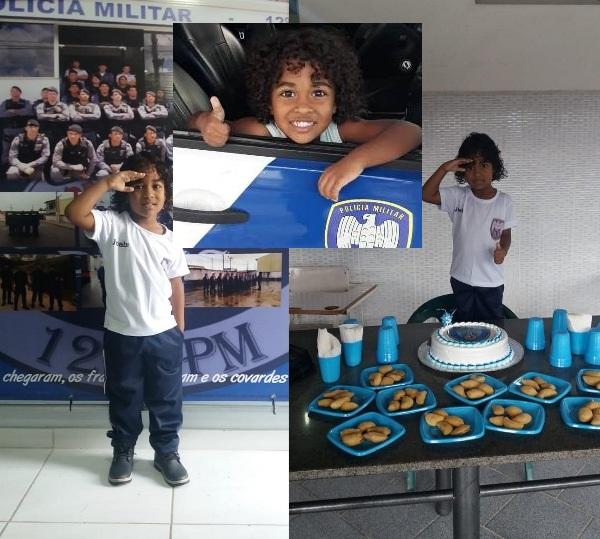 Garotinho realiza sonho de comemorar aniversário do 12º Batalhão da PM