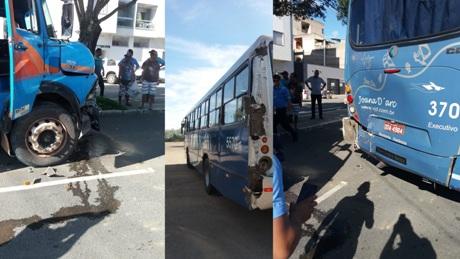Cena do dia: Caminhão e ônibus em engavetamento no Centro de Linhares