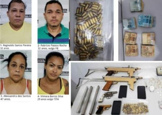 Interlagos: Casais presos e farta apreensão. Autor de duplo homicídio já está na PRL