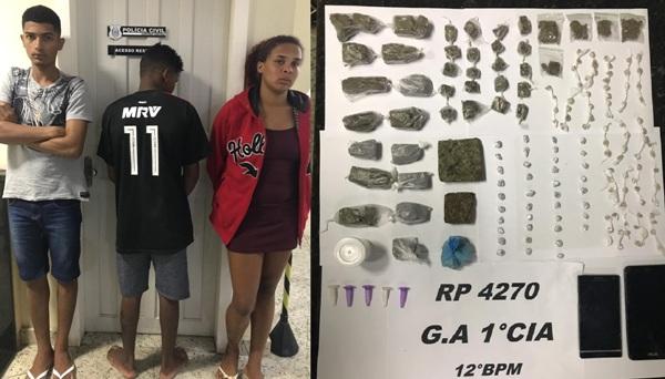 Nininha, B, e adolescente conduzidos à DRL após apreensão de drogas no Santa Cruz