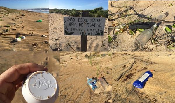Muito lixo: Leitor se decepciona durante caminhada na Praia de Pontal do Ipiranga