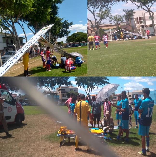 Socorro demorou: Jogador quebra perna em partida de futebol, no Interlagos