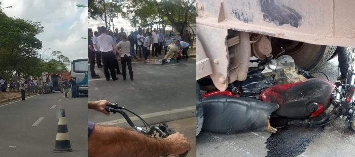 Moto bate na traseira de ônibus e condutor acaba atropelado por carreta em Linhares