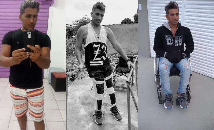 Vítima de acidente de moto pede ajuda para voltar a andar. Preciso trabalhar de novo, diz ele