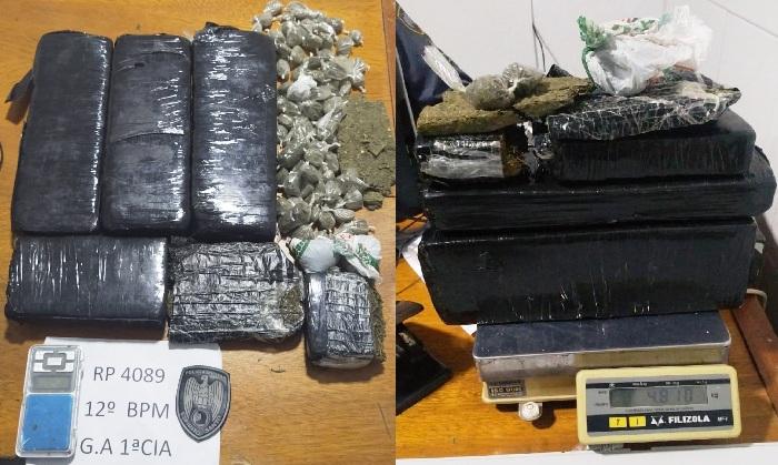 Terror do tráfico: Barca Opressora apreende quase 5kg de maconha em Linhares