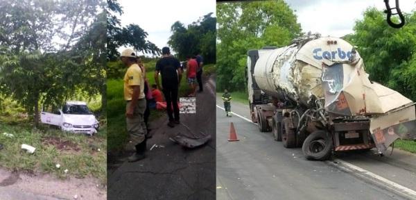 Acidente com caminhões e carro de passeio perto da PRF, em Linhares