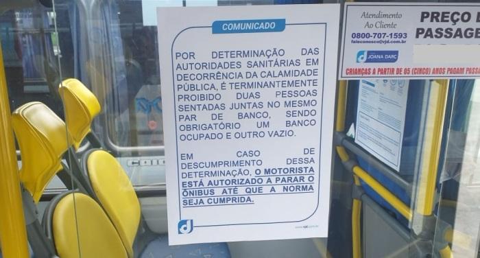 Coronavírus: Proibido 2 pessoas no mesmo banco em ônibus de Linhares