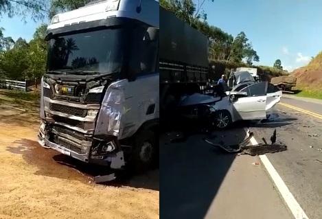 Jacupemba: Três feridos e dois mortos em acidente entre carreta e carro de passeio