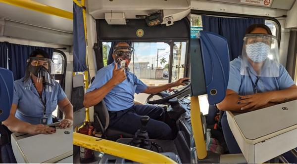 Joana Darc: Cobradores e motoristas recebem proteção facial em acrílico