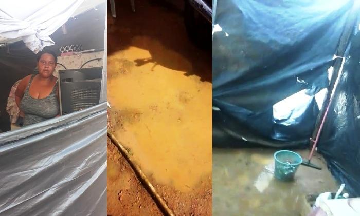 De cortar o coração: Barraca de família alaga no Residencial Rio Doce