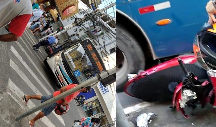 Cena do dia: Moto fica debaixo de ônibus em acidente no Centro de Linhares