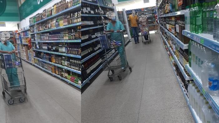 Leitora flagra profissional da saúde uniformizada e fazendo compras em supermercado de Linhares