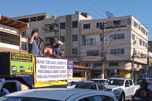 Carreata: Comerciantes voltam a protestar em Linhares