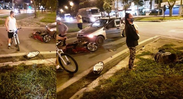 BR-101: Acidente entre moto e carro deixa casal ferido no Trevo da MVC
