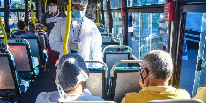 Medição de temperatura nos passageiros do Transporte Coletivo em Linhares