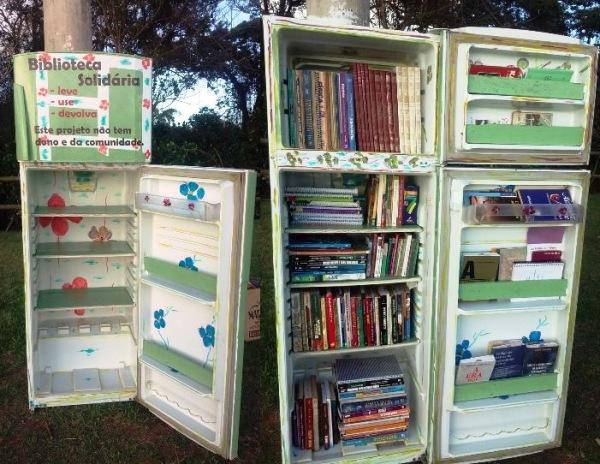 Regência: Geladeira velha é transformada em Biblioteca Solidária