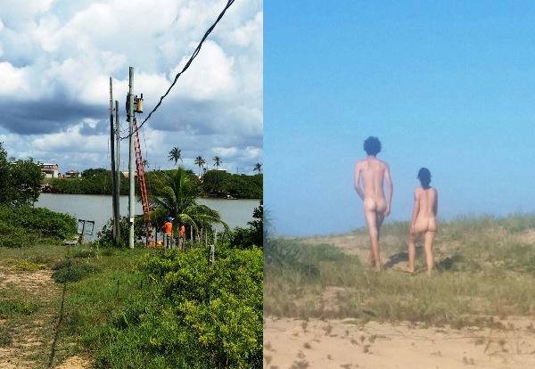 Pelados e conectados! Praia naturista de Linhares agora tem internet, e é de graça